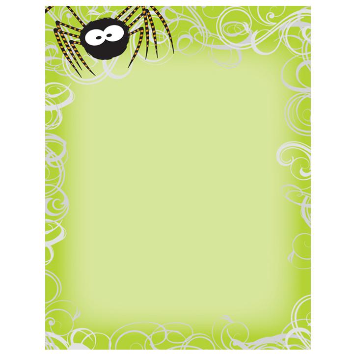 Green Spider Swirls Halloween Paper