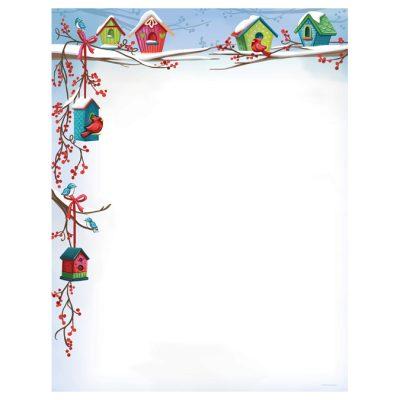Christmas Birdhouses Holiday Computer Printer Paper