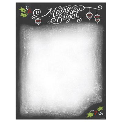Merry & Bright Christmas Chalkboard Computer Printer Paper