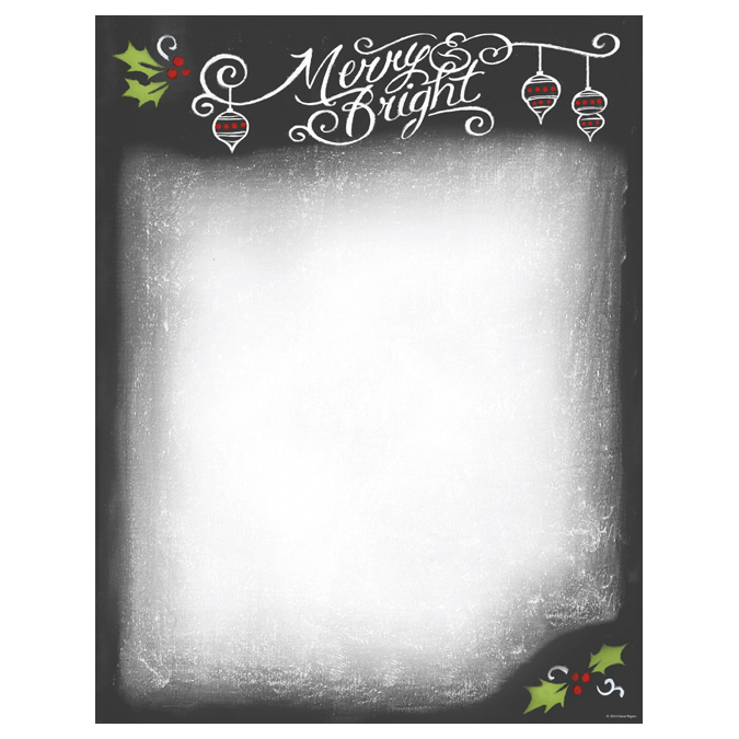 Merry & Bright Christmas Chalkboard Computer Printer Paper