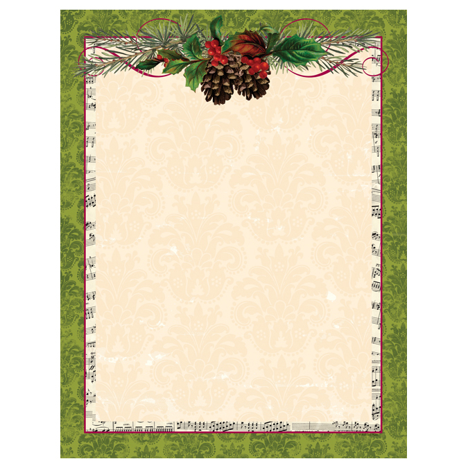 Pinecone & Garland Green Christmas Border Computer Printer Paper