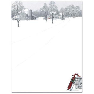 Winter Snow Scene & Sled Christmas Computer Printer Paper