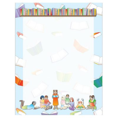 Library Reading Time School Border Paper