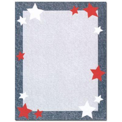 Red & White Stars on Denim Blue Paper