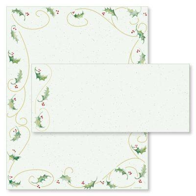 Holly Bunch Christmas Computer Printer Paper & Envelopes