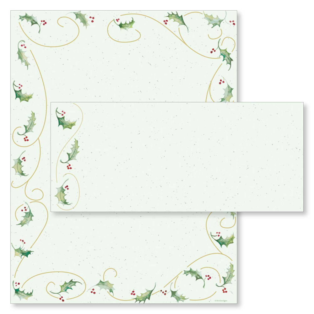 Holly Bunch Christmas Computer Printer Paper & Envelopes