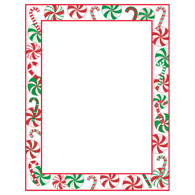 Peppermint Party Holiday Christmas Border Paper