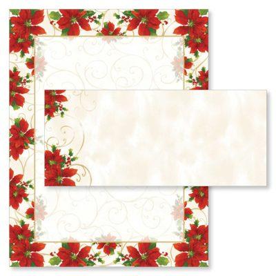 Poinsettia Swirl Christmas Computer Printer Paper & Envelopes