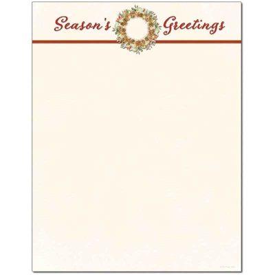 Season's Greetings Wreath Holiday Christmas Paper