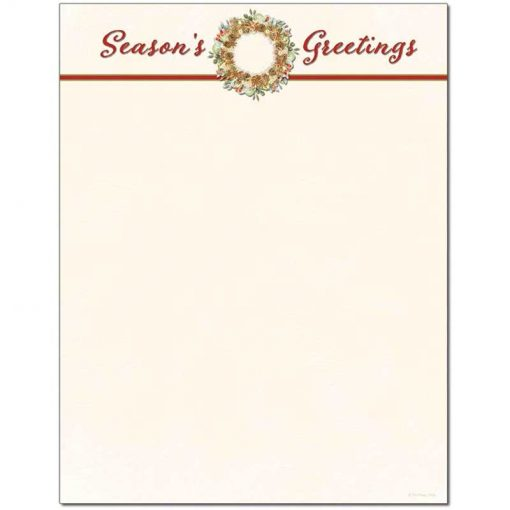 Season's Greetings Wreath Holiday Christmas Paper