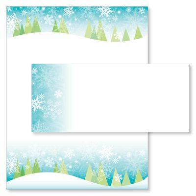 Snowy Christmas Trees Paper & Envelopes