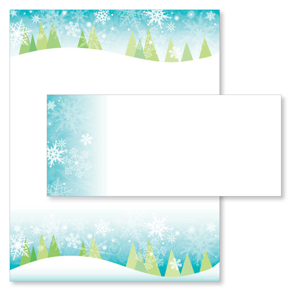 Snowy Christmas Trees Paper & Envelopes