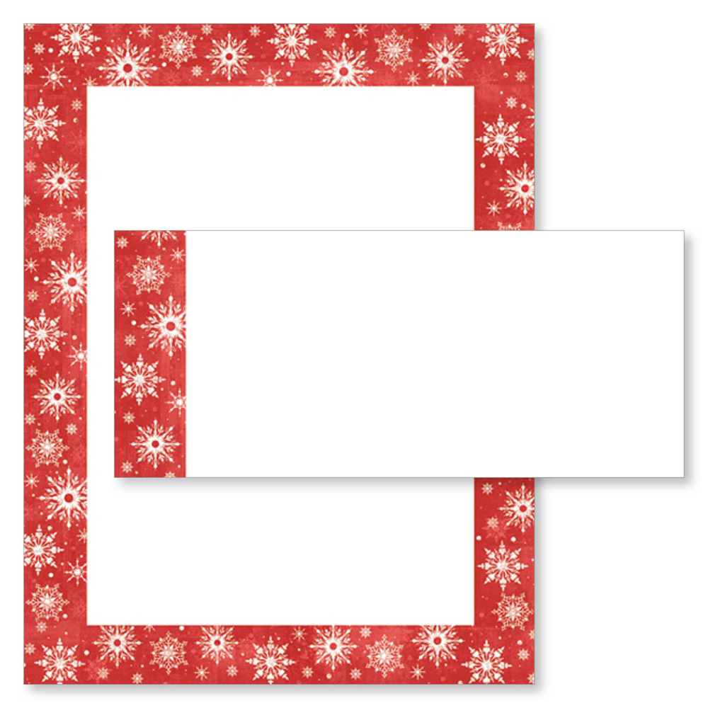 Snowy Flakes Red Border Christmas Holiday Printer Paper & Envelopes