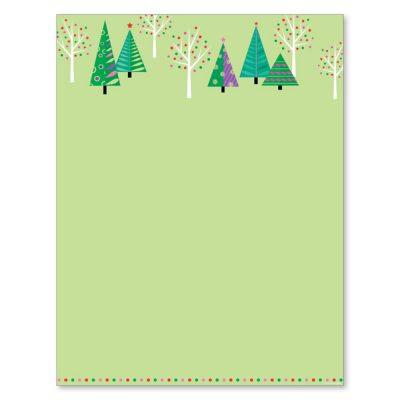 Sparkling Green Christmas Trees Computer Printer Paper