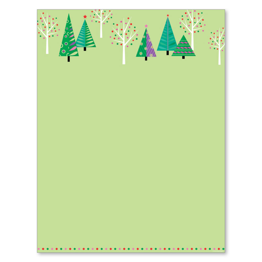 Sparkling Green Christmas Trees Computer Printer Paper