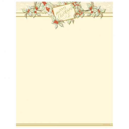 Vintage Holly Holiday Christmas Paper