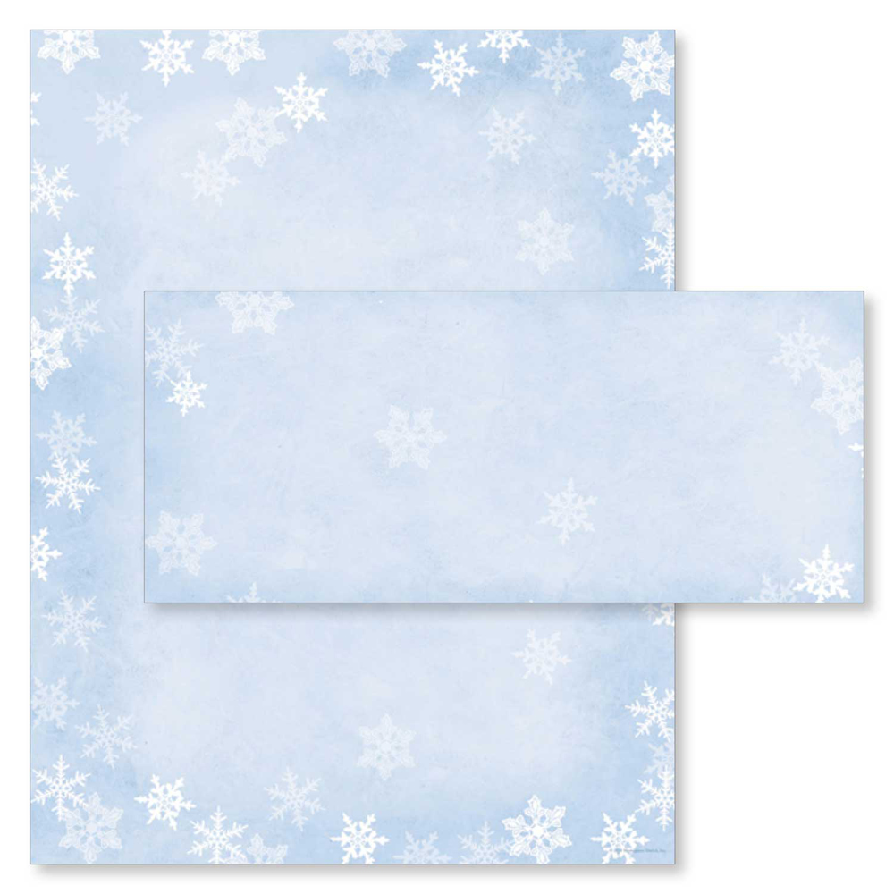 Winter Snow Flakes Christmas Holiday Printer Paper & Envelopes