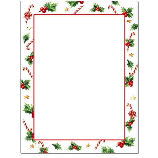 Holly & Candy Canes Christmas Holiday Paper
