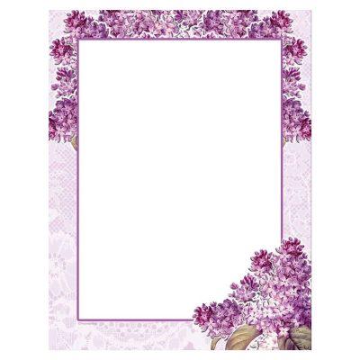 Purple Lilacs & Lace Flower Paper Stock