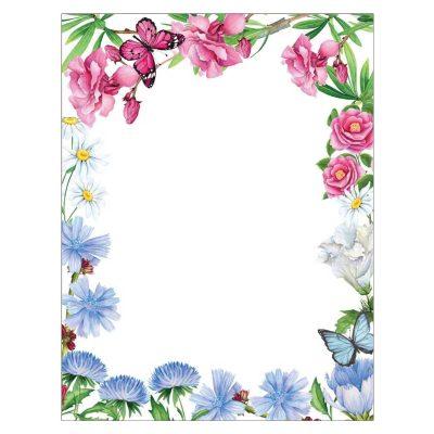 Asters & Oleander Flowers Floral Paper
